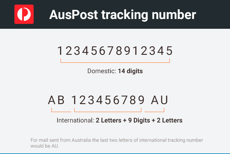 auspost tracking number format
