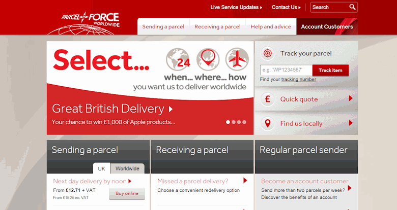 parcelforce login