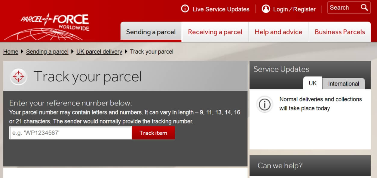 parcel force number