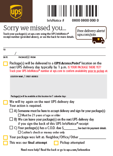 UPS infonotice | k2track com