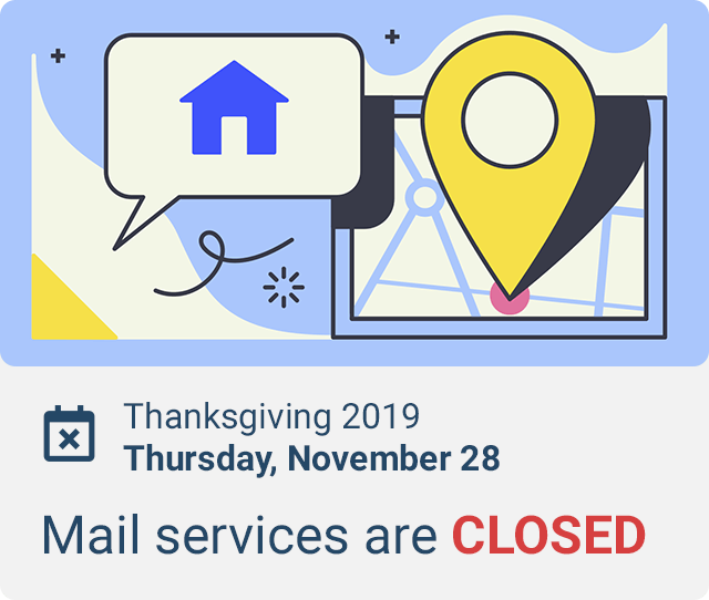 does mail come on thanksgiving 2019