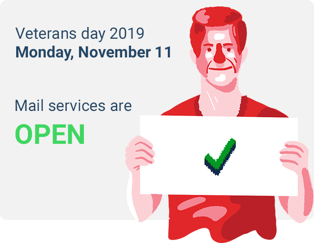 is there mail delivery on veterans day 2019