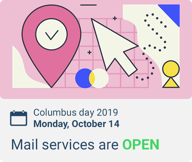 is there mail delivery on columbus day 2019