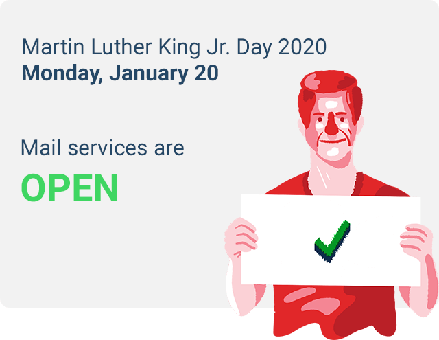 is mail delivered on mlk day 2020